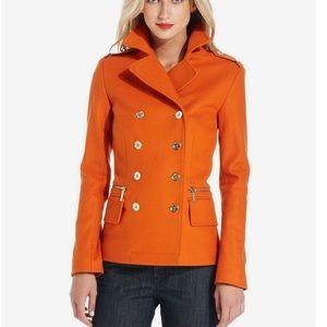 🔥 Michael Kors MK orange pea coat jacket sz S